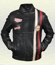 New Steve McQueen Le Mans Driver Grandprix Gulf Black Real Leather Jacket