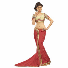 Red color Border Worked Saree/sari