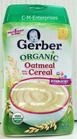 Gerber Organic Whole Grain Oatmeal Cereal for Baby 8 oz