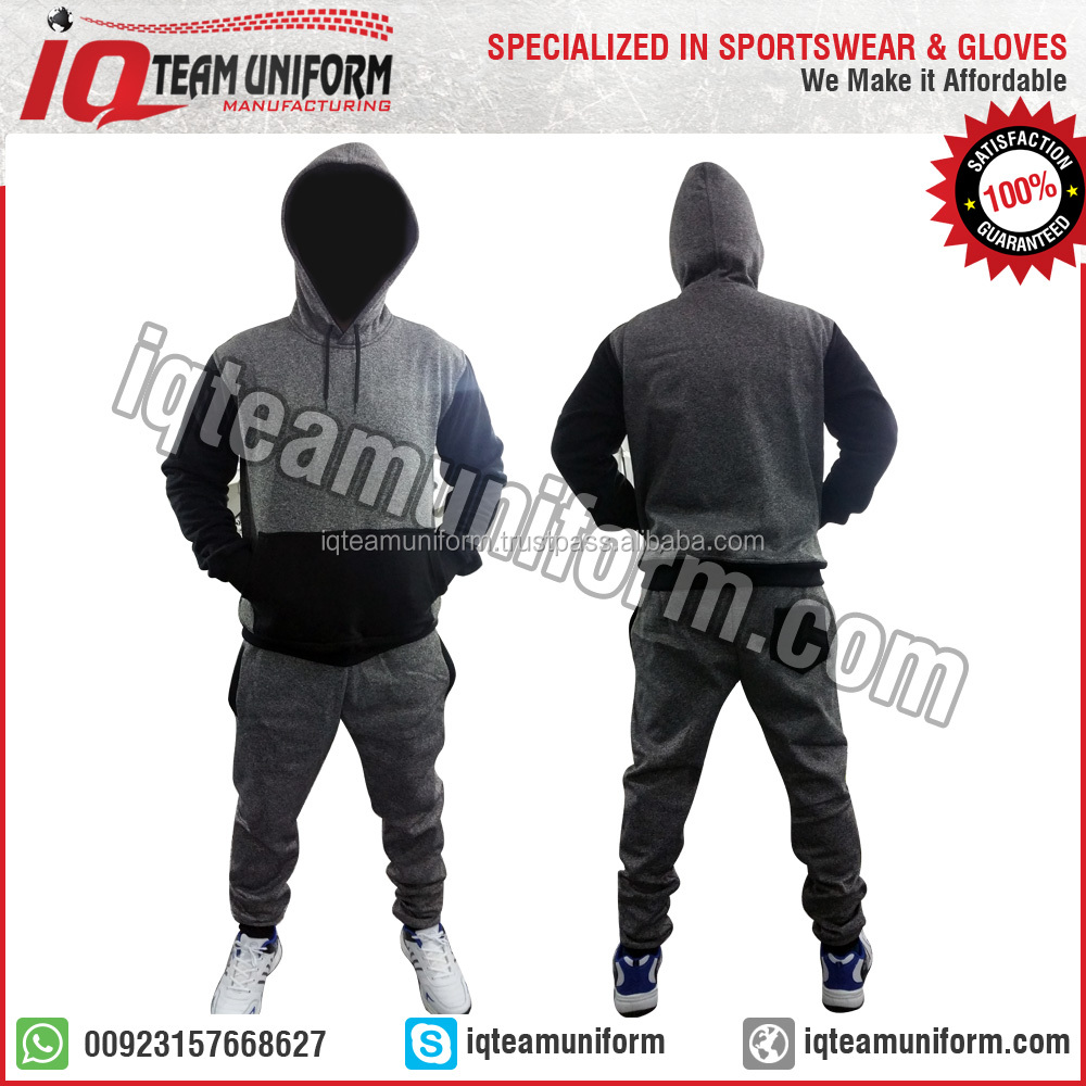Lastest design fleece winter mens trainning custom black cotton tracksuit men