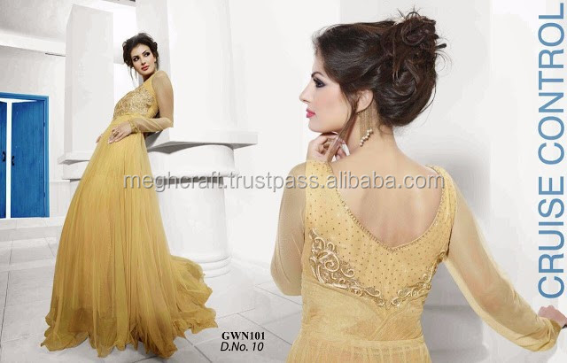 Wholesale Indian Pakistan Designer Blue Pink Red Yellow Net and Stylish Exclusive Gowns-Party wear all colors gown online lot