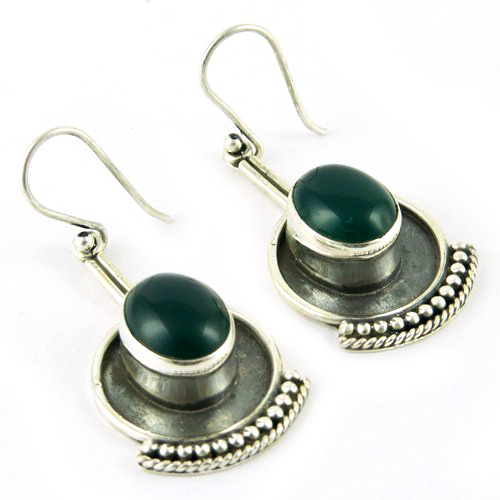 New Awesome Design Green Onyx 925 Sterling Silver Earring, Silver Jewelry Wholesale, Handmade Gemstone Oxidized Earrings