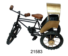 Miniature Bicycle model type Indian wrought iron rickshaw toy for home