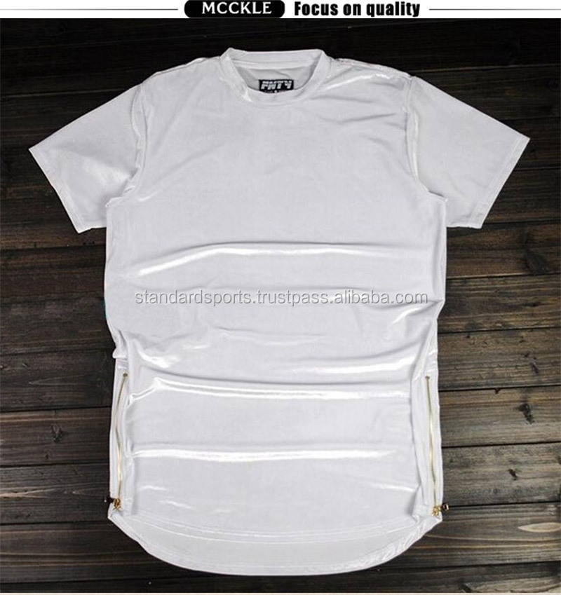 White Hi-Street Mens Hip Hop Rock T Shirts Velour Gold Side Zipper Extended T Shirt For man Longline Curver Hem Tee Sleeve