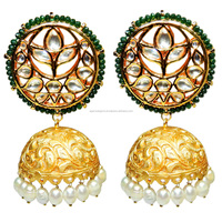 Green Onyx With Pearl Gold Plated Jhumka Earrings
