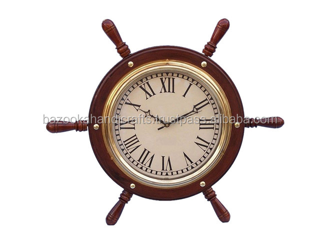 Vintage Ship Stearing Shaped Big Wall Clock, Wooden Clock