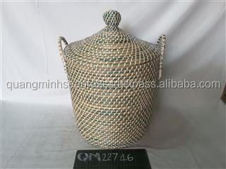 Vietnam supplier seagrass laundry basket high quality eco-friendly rattan hamper basket cheap price wicker picnic basket