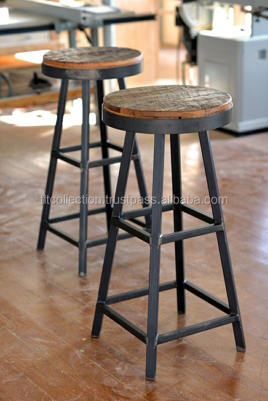 industrial furniture Metal wood top high bar stool, Twist French Bar Stool
