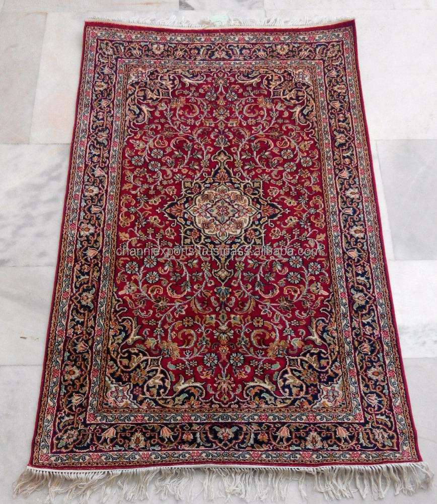 Wholesale beautiful hand knotted rugs handmade pure silk carpet from Jaipur India Kashan style