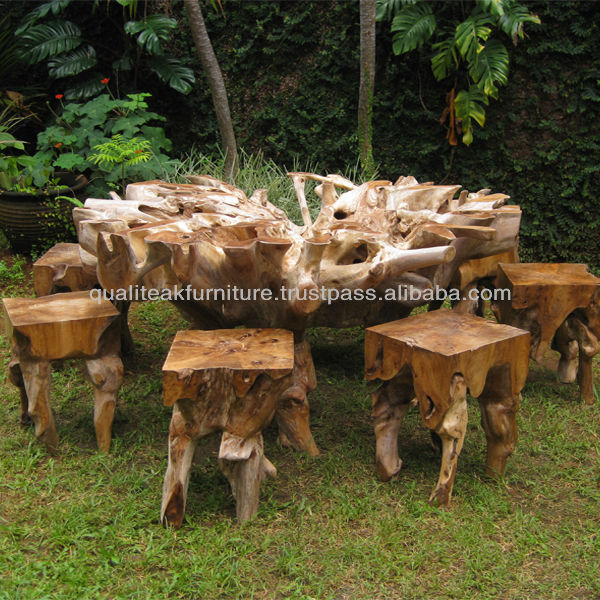 Teak Root Furniture Indonesia - Teak Root Wood Round Dining Table