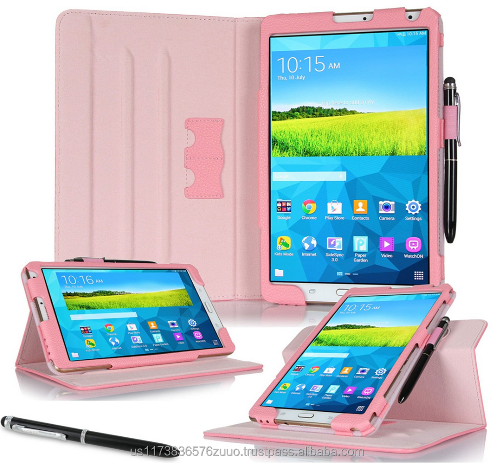 Dual View Slim Fit Premium PU Leather Folio case cover, detach inner sleeve for Galaxy Tab S 8.4 roocase (Pink)