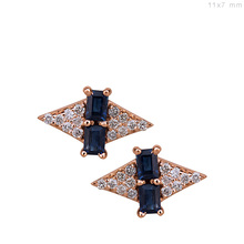 Baguette Cut Blue Sapphire Gemstone Natural Diamond Stud Earrings 18kt Gold Jewelry