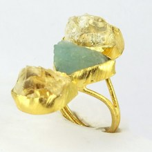 Gorgeous Gold Plated !! Citrine_Aquamarine 925 Sterling Silver Ring, Wholesale Gold Plated Silver Jewelry, 925 Silver Jewelry