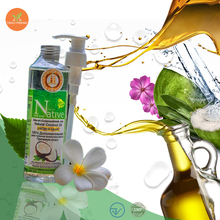 100% Natural cold pressed virgin coconut oil by young nam hom coconut product make in Thailand
