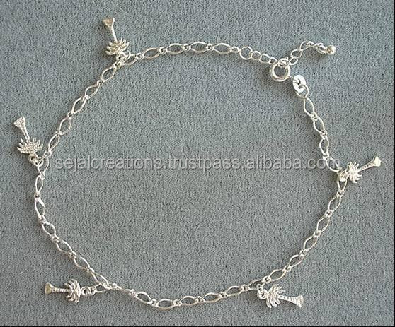 Tree Charm Silver Anklets,basic design anklets,silver anklet jewellery