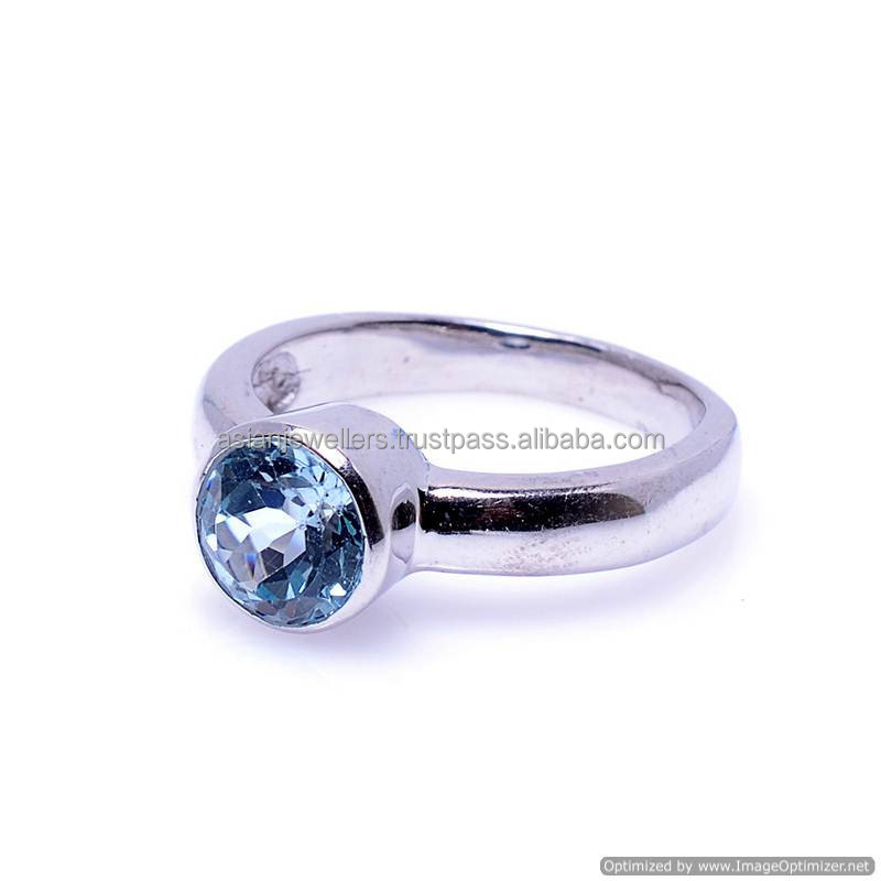 Natural Faceted Blue Topaz Gemstone Ring silver ring jewelry