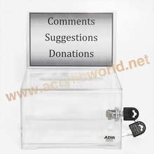 Acrylic Decorative Money Donation Box With Metal Chain