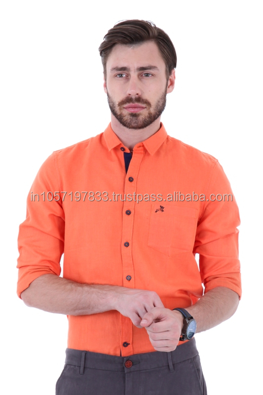 Trendy Linen Mens shirt with Orange Color Long Sleeves