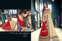 Wise Red Georgette On Fancy Net Designer Saree/saree blouse hand designs/indian saree