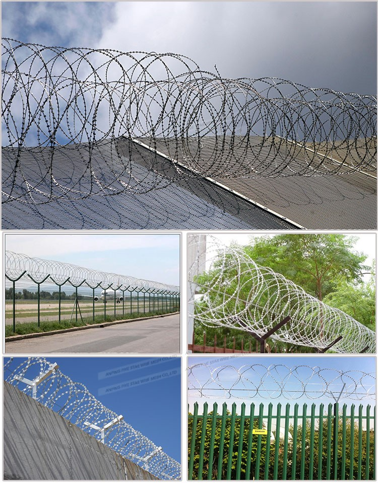 Plastic green color CBT-60 Razor Barbed Wire
