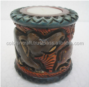 wooden tea light elephant carving oil antique candle