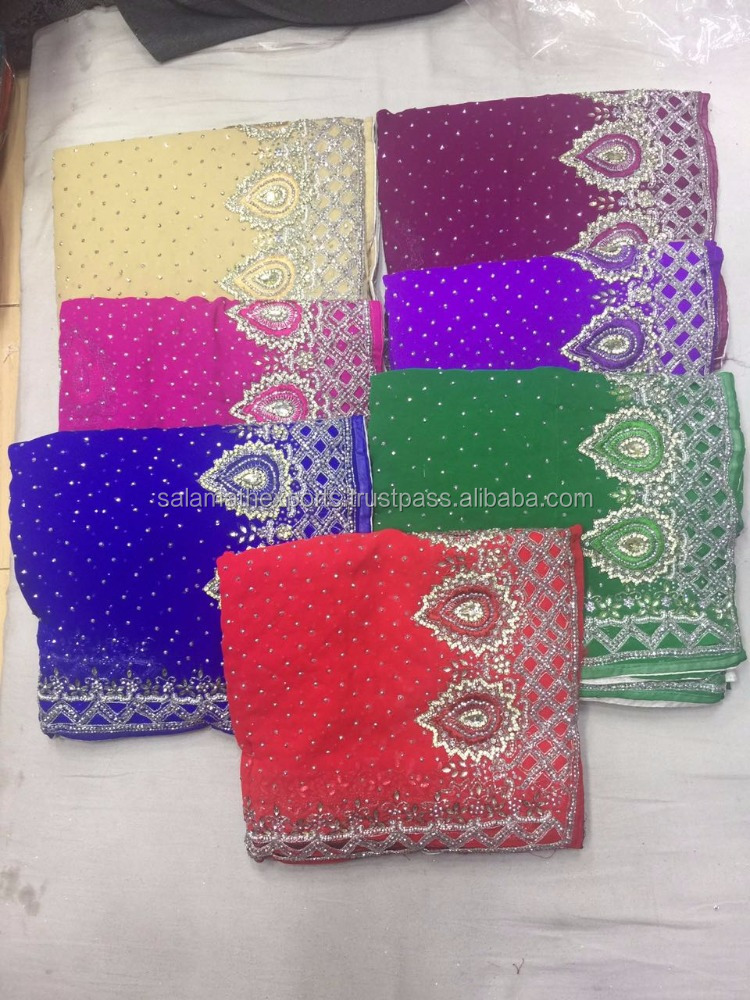 Patch work stone work sarees