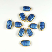 24 Kt. Gold Plated Gemstone Connectors Blue Biwa Pearl Gemstone Jewelry Making Connector Supplies Size-10X23 MM Connector Charm