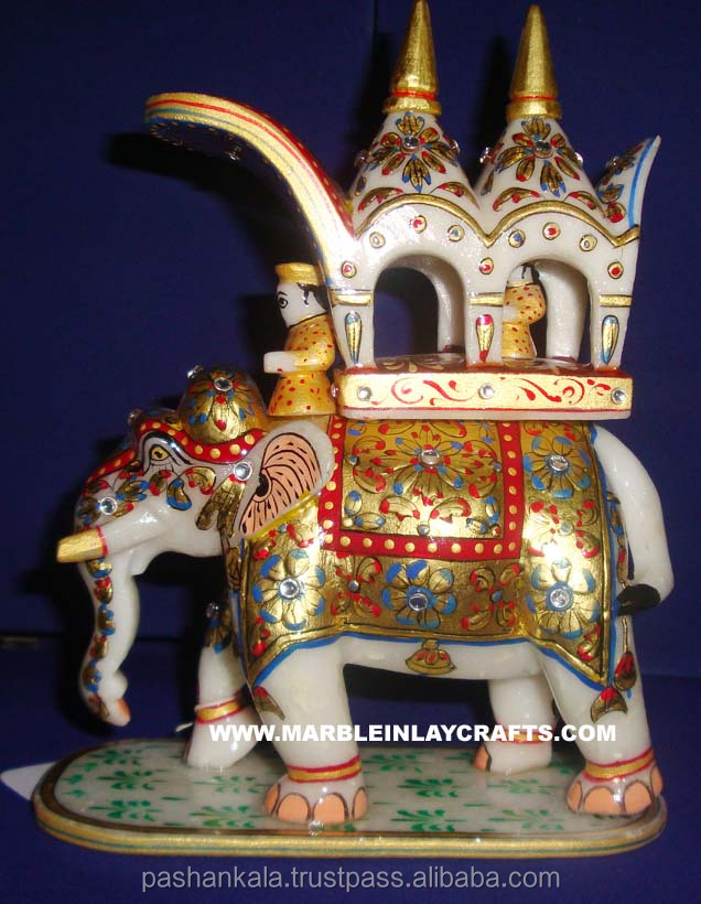 Painted White Marble Elephent