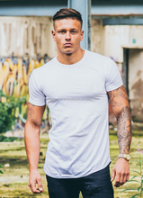 96% Cotton 4% Elastane Men's slim fit T-shirt, Short sleeves, Crew neck Men's White Fitted Long Line T-Shirt