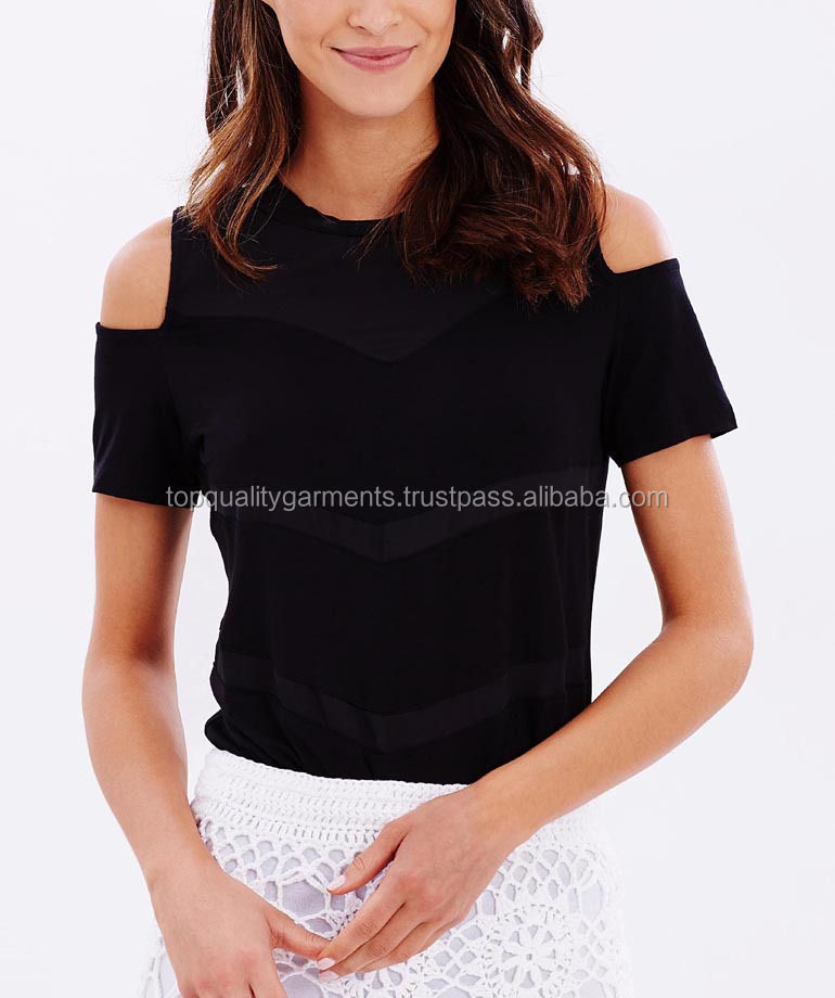 New High Quality Sexy Women Girl Lady Cold Shoulder Black Cotton T shirts Stylish Tops OEM Customize Print