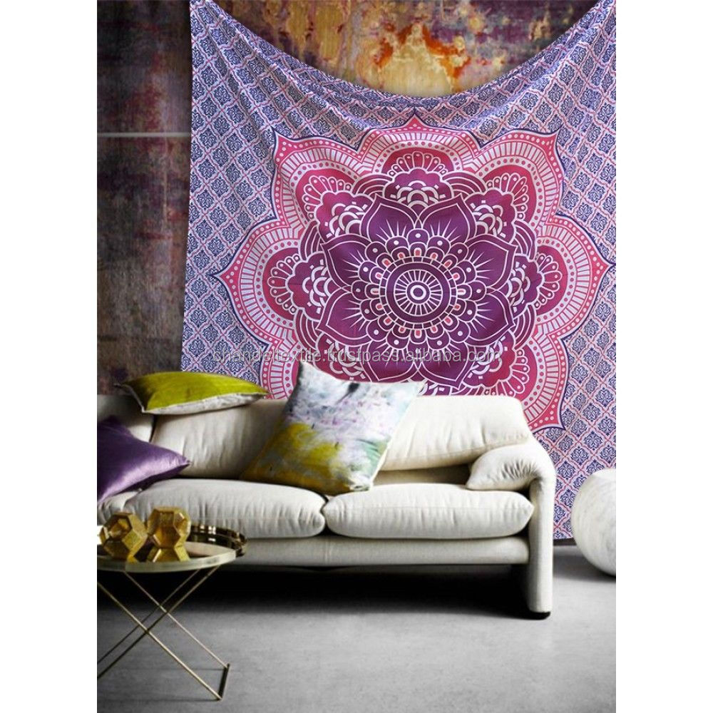 Lotus Indian Hippie Decor Mandala Tapestry Wall Hanging Throw Bohemian Bedspread Elephant Mandala Blanket Tapestries queen size