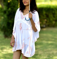 2016 Summer Sexy Swimsuit Cover Ups Beach Dress White Long Sleeve Embroidered Tunic Beachwear Bikini Cover Up Bathing Suit Dress