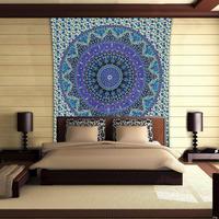 Purple Floral Mandala Wall Decoration 100% Cotton Indian Printed Fabric Carpet Hangings