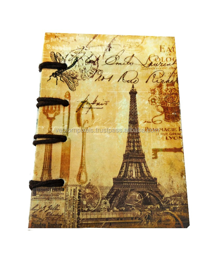 Digital Effil tower vintage print notebook diary journal sketch book writing pad travelers diary journal