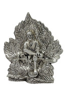 White Metal Sai Baba in Leaf