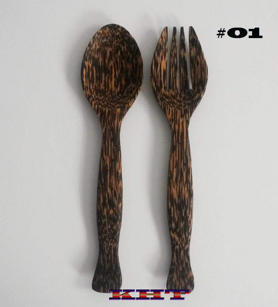 Thai Palm Wood Salad Serving Spoon and Fork Set. dinnerware kitchenware