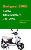 PROMOTION!! (PEDA 2016) Electric Scooter with 1500W Motor by Lithium Battery at High Quality (BUDAPEST 1500W)