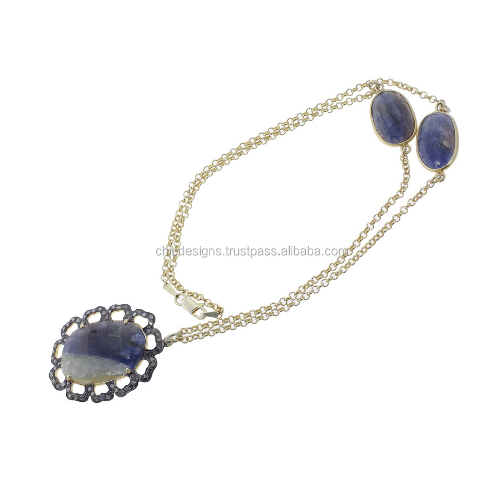 Designer Diamond Jewelry Blue Sapphire Gemstone 925 Sterling Silver Link Chain Bead Necklace