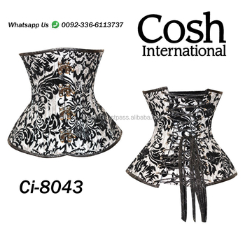 Ci-8043 black And White Brocade Waist Training Steel Bond Corset Supplier