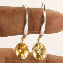 925 Sliver earring Long New Design Stylish Natural CITRINE Gemstone Earrings Best Selling 2018 Fashion Jewelry