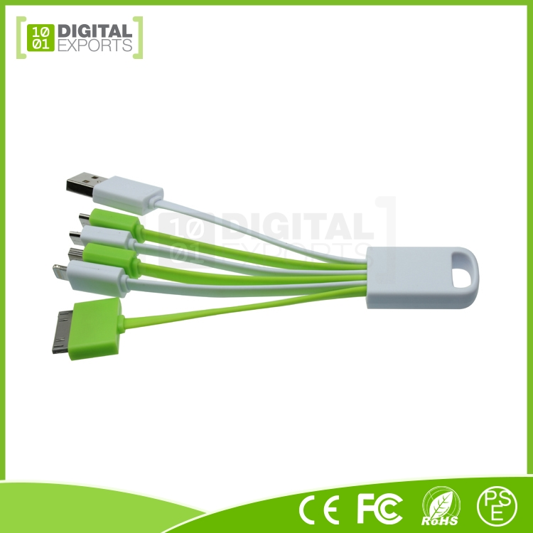 Hot selling unique oem custom printer 5 in 1 usb cable for i-Phone 4/4S/5/5S/6/6 and Android