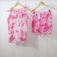 Tie dye beach dress short tops ladies swim wear hippie ladies blouse