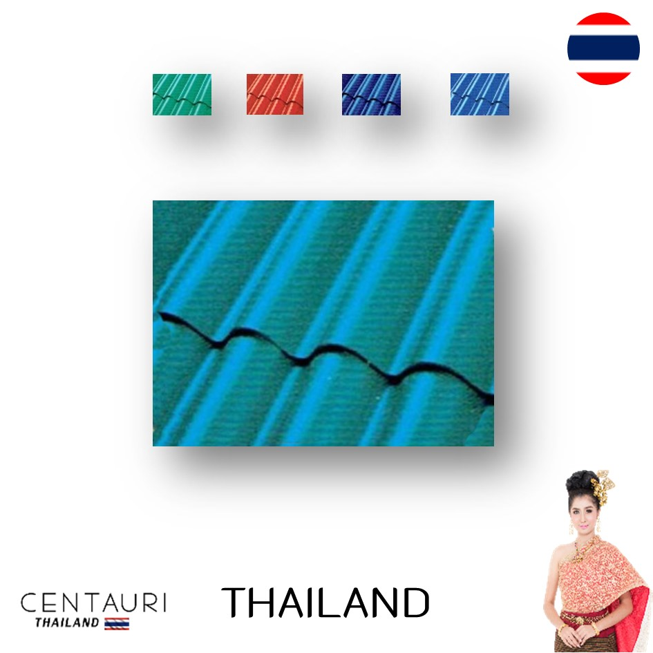 50*120*0.5 cm 3 waves early purple blue red Green full body fiber cement Thai roof tiles and tile from Thailand
