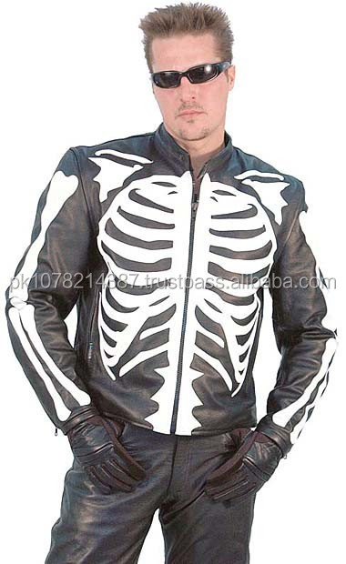 2015 New fashion Western Skeleton Leather Motorcycle Jacket for mens motorbike leather jacket