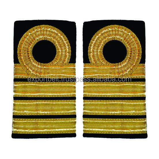 Epaulette Merchant Navy or Royal Navy | Pilot Epaulettes | Airline Epaulettes | Marine Uniform Epaulettes with Gold French Braid