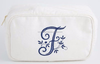 Monogram white cotton cosmetic bag