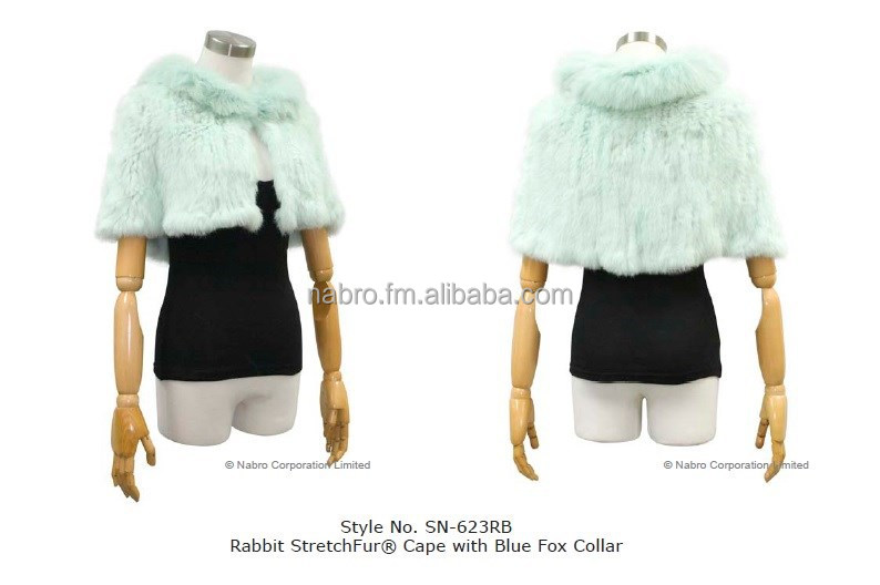 Rabbit StretchFur Cape w/ Blue Fox Collar (Style NO. SN-623RB)