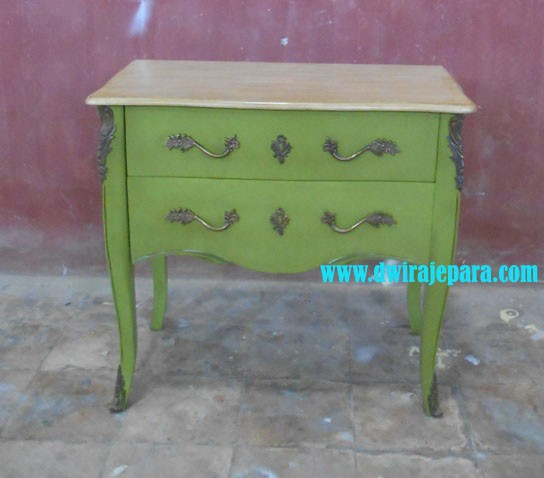 Home Furniture - Bombay Living Room Cabinets 2 Drawers With Antique Painted Kaki Limed Color for Living Room & Bedroom Furniture