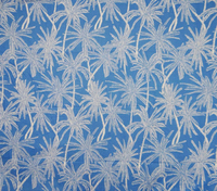 "Date Palm Tree Print Cotton Blue 51"" Wd Fabric Sewing Craft Material By The Yard FBC5447"