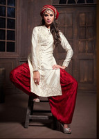 Sizzling Snow color with silver embroidery rich work of neck red satine pant long Designer Semi stitch Salwar Kameez